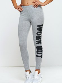 Stretchy Side Letter Print Skinny Pants