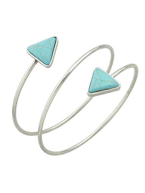 lady Triangle Faux Turquoise Arm Chain - SILVER