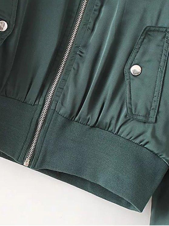 Zip-Up Satin Jacket - BLACK S Mobile