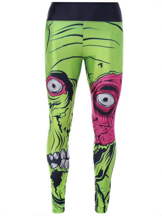 fancy Monster Print Sporty Leggings - GREEN ONE SIZE
