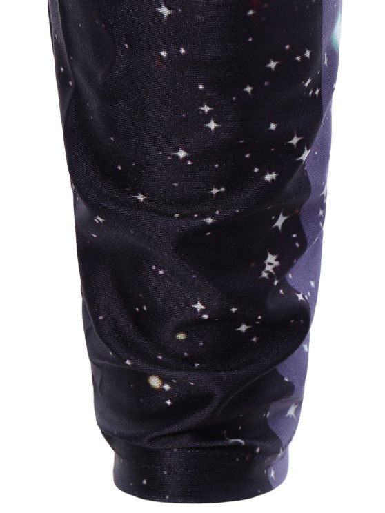 3D Starry Sky Print Skinny Gym Leggings - COLORMIX ONE SIZE Mobile