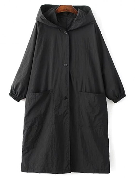 sale Letter Print Loose Hooded Trench Coat - BLACK L