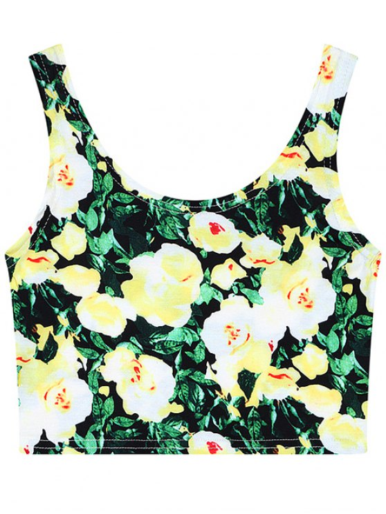 Rose Print Cropped Tank Top - FLORAL ONE SIZE Mobile