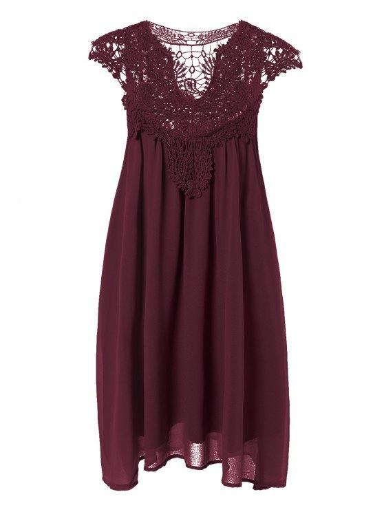 Plus Size Lace Chiffon Dress - CLARET 2XL Mobile