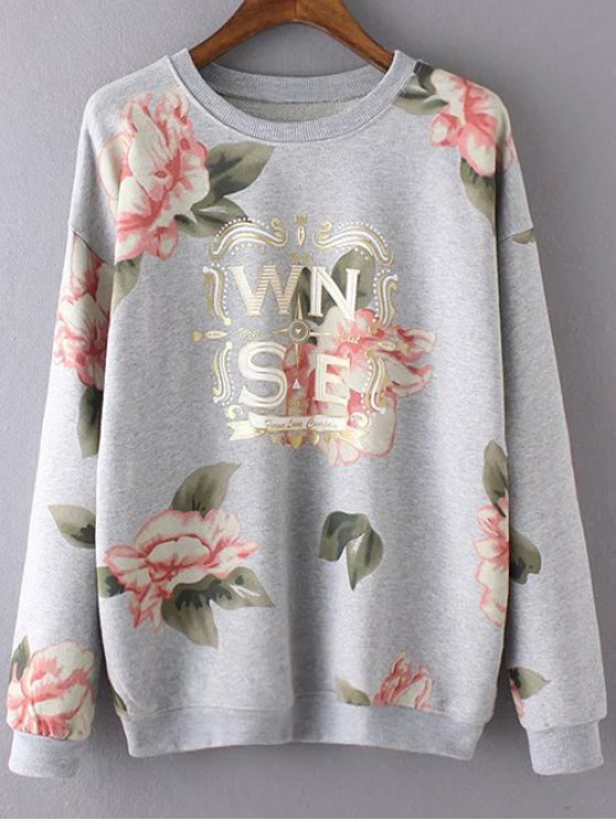 Floral ocasional de impresión con capucha - Gris S