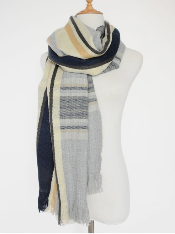 Stripe Fringed Shawl Scarf - LIGHT GRAY  Mobile