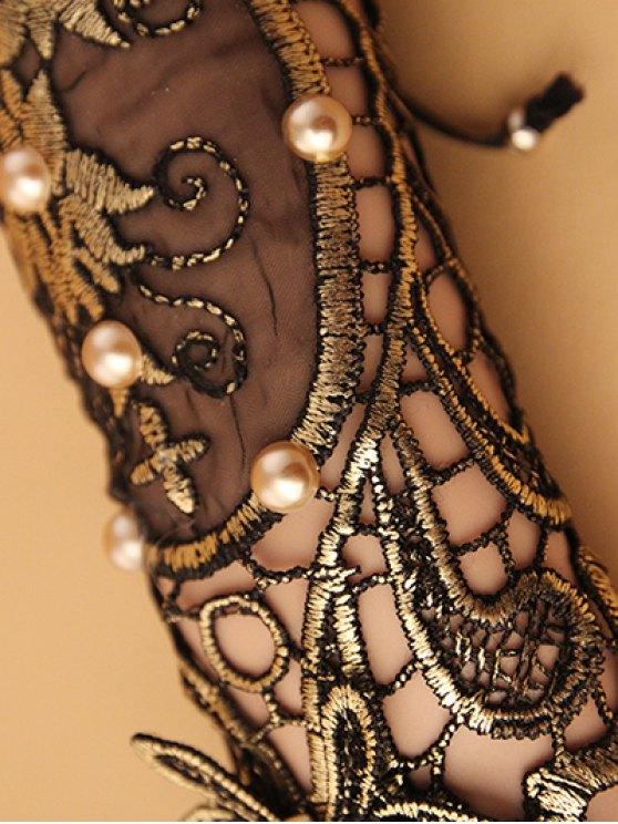 Faux Pearl Lace Up Glove Bracelet - COLORMIX  Mobile