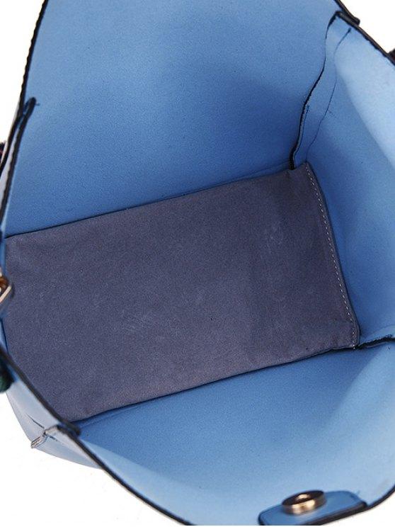 Print Strap PU Leather Crossbody Bag - BROWN  Mobile