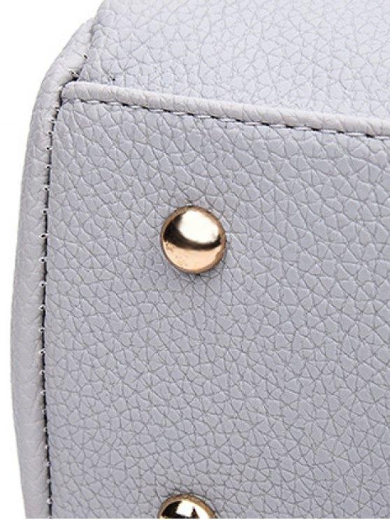 Textured PU Snake Print Tote Bag - BROWN  Mobile