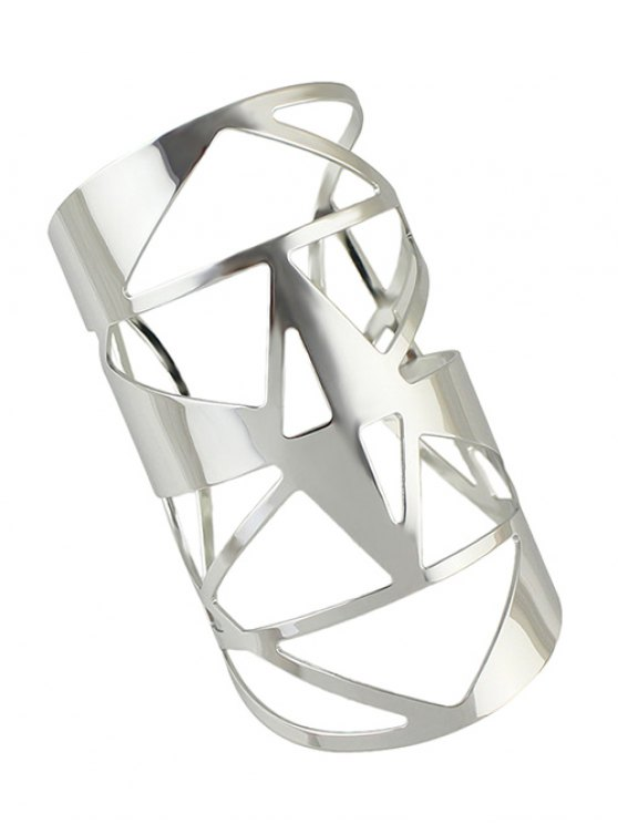 Hollow Out Cuff Geometric Bracelet - SILVER  Mobile