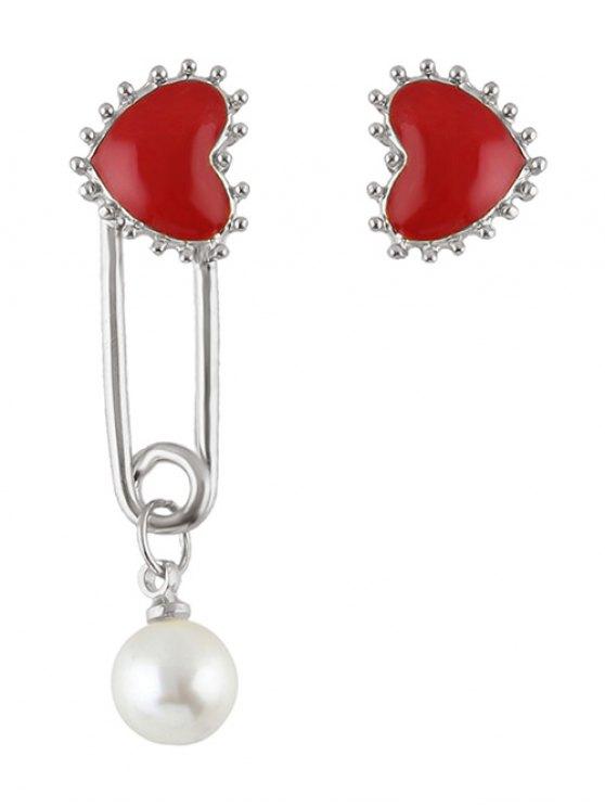 new Faux Pearl Asymmetric Heart Earrings - SILVER