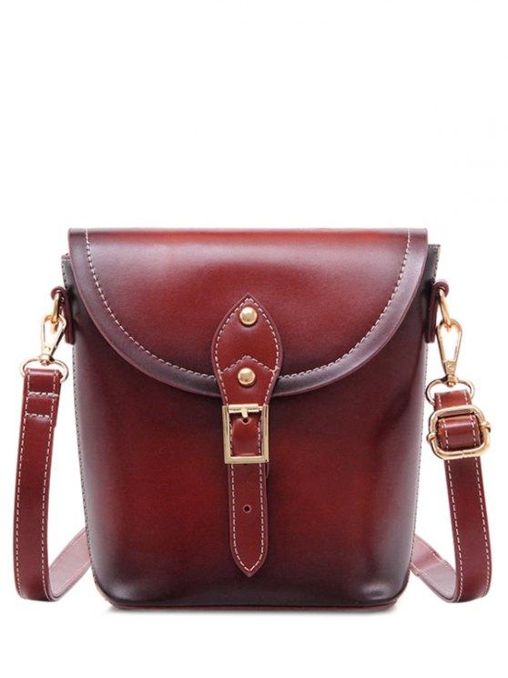 shop Vintage Buckle PU Leather Crossbody Bag - WINE RED