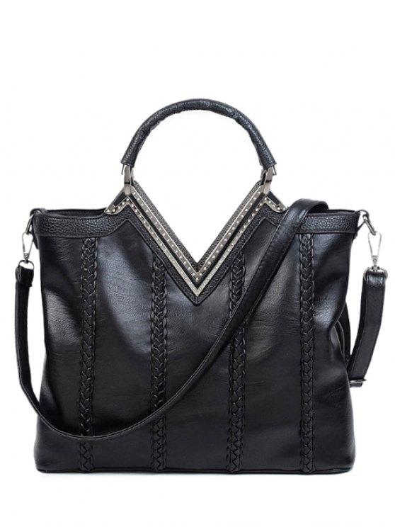 fancy Braid Metal PU Leather Tote Bag - BLACK
