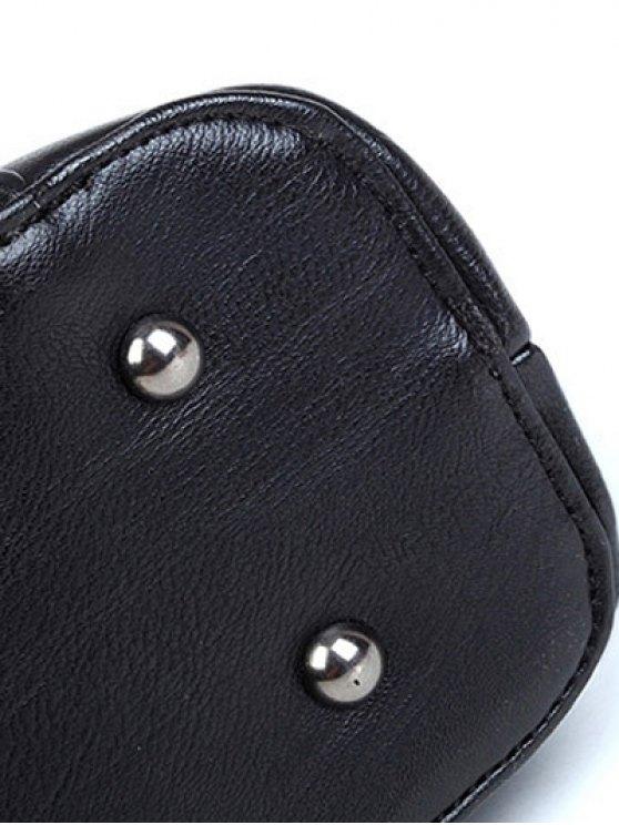 Braid Metal PU Leather Tote Bag - BLACK  Mobile