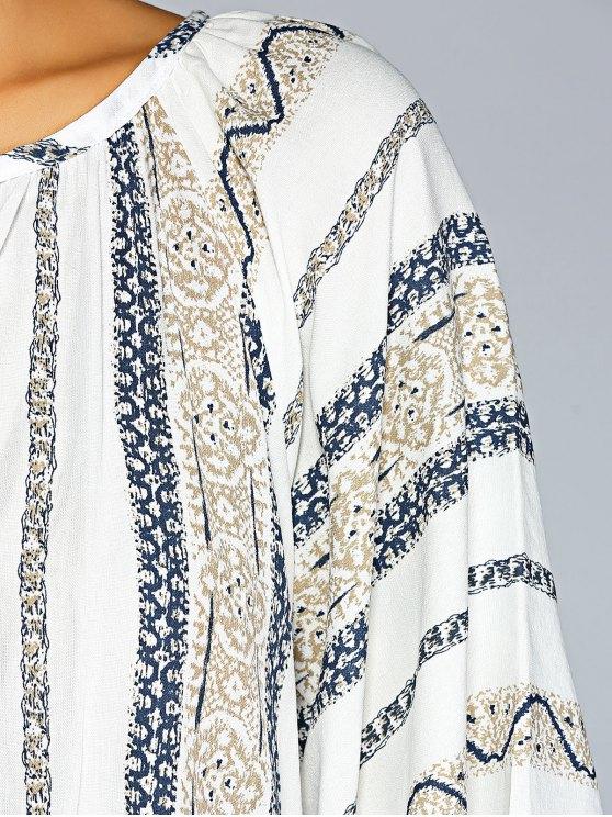 Tassels Printed Blouse - BLUE M Mobile