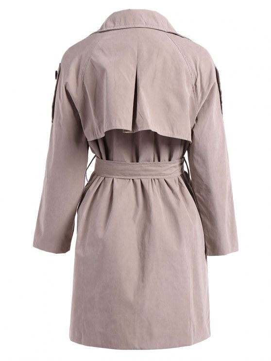 Double-Breasted Belt Trench Coat - KHAKI M Mobile