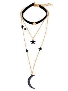 Moon And Star Pendant Chokers - Black