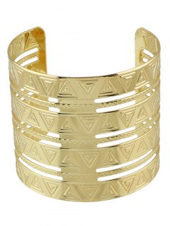 Punk Engraved Triangle Alloy Cuff Bracelet - Golden