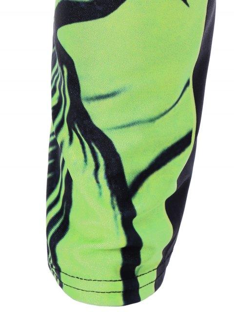 fancy Monster Print Sporty Leggings - GREEN ONE SIZE Mobile