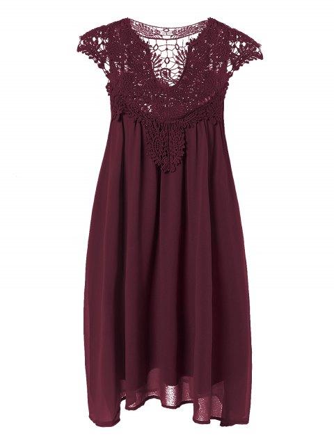 best Plus Size Lace Chiffon Dress - CLARET 2XL Mobile