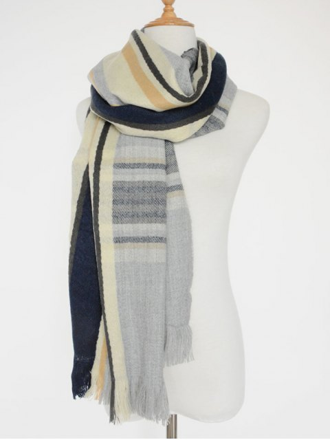 hot Stripe Fringed Shawl Scarf - LIGHT GRAY  Mobile