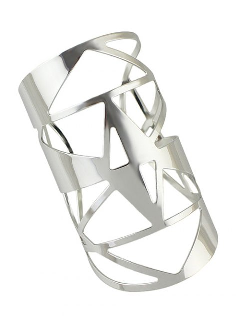 outfit Hollow Out Cuff Geometric Bracelet - SILVER  Mobile