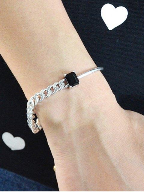 shops Vintage Faux Crystal Chain Geometric Bracelet -   Mobile