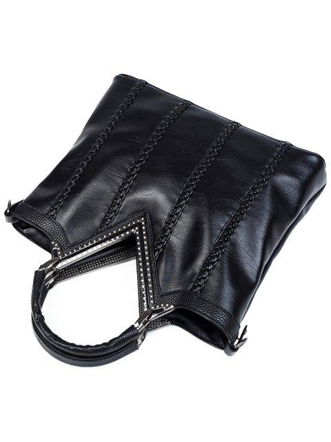 fancy Braid Metal PU Leather Tote Bag - BLACK  Mobile