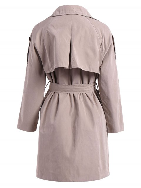 online Double-Breasted Belt Trench Coat - KHAKI M Mobile