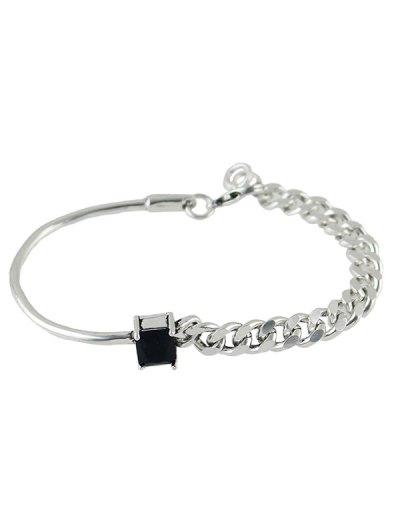 Vintage Faux Crystal Chain Geometric Bracelet - SILVER  Mobile