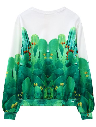 Round Neck Cactus Print Sweatshirt - GREEN ONE SIZE Mobile