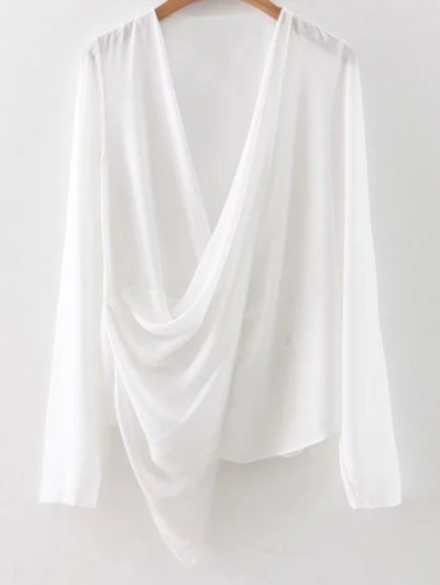 Asymmetric Wrap Chiffon Blouse - White