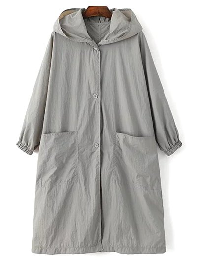 Letter Print Loose Hooded Trench Coat - Gray