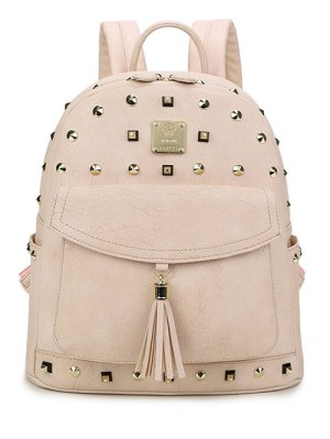 Tassels Magnetic Closure Rivets Backpack - Apricot