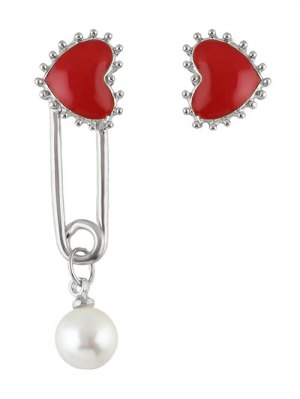 Faux Pearl Asymmetric Heart Earrings - Silver