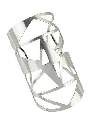 Hollow Out Cuff Geometric Bracelet - Silver