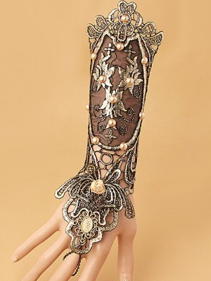 Faux Pearl Lace Up Glove Bracelet