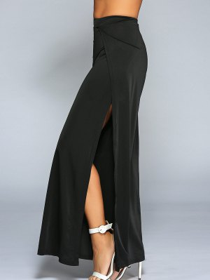 High Slit Wide Leg Pants - Black