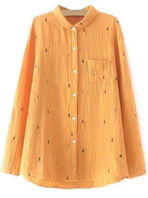 Loose Embroidered Shirt - Orange Yellow