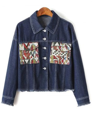 Print Pockets Denim Jacket - Blue
