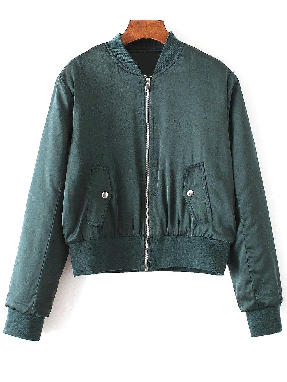 Zip-Up Satin Jacket - GREEN M