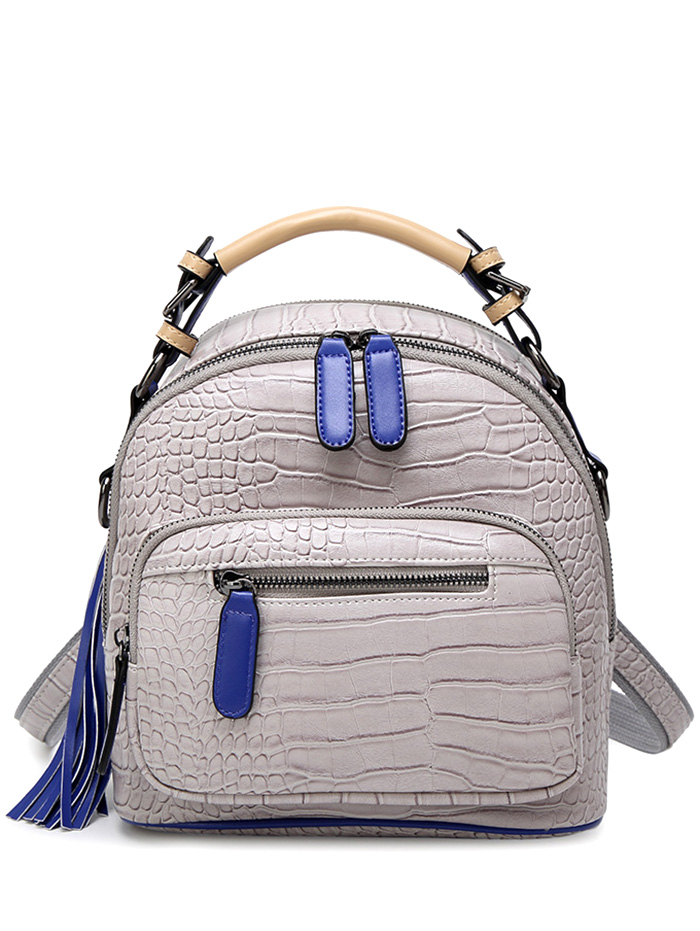 Colour Block Buckles Backpack