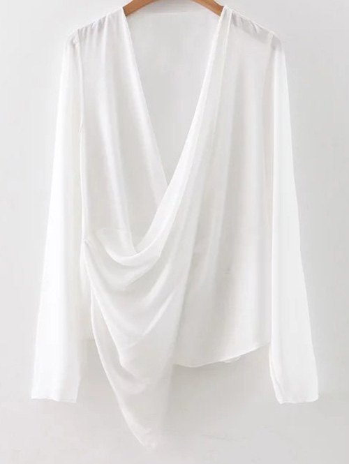 V Neck Asymmetric Wrap Chiffon Blouse