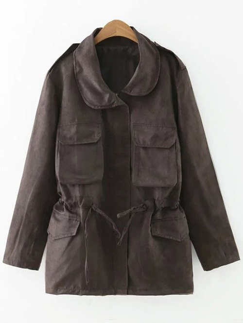 Drawstring Faux Suede Trench Coat