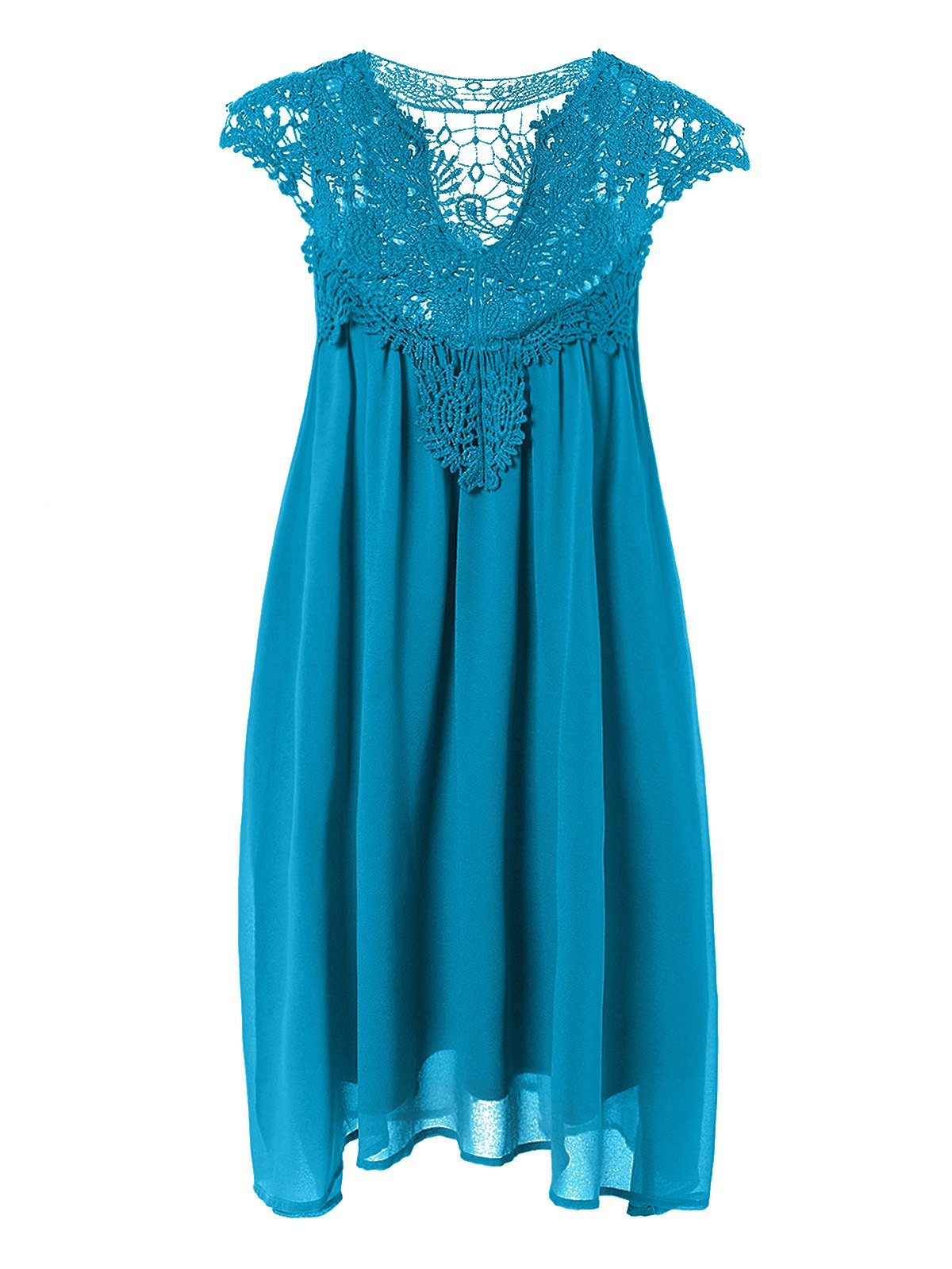 Plus Size Hollow Out Lace Splice Dress