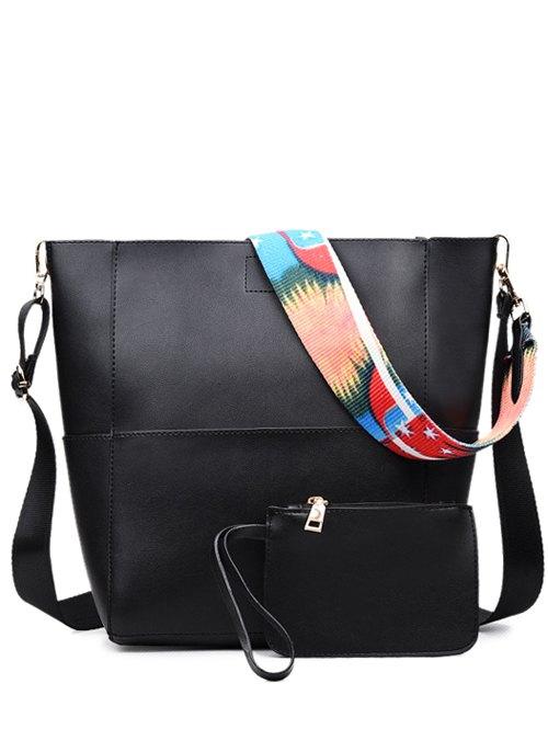 Print Strap PU Leather Crossbody BagAccessories<br><br><br>Color: BLACK