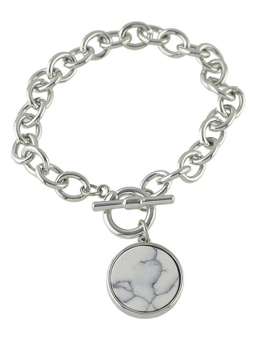 Faux Rammel Round Charm Bracelet