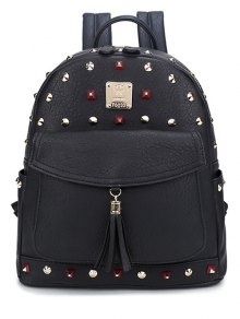 Tassels Magnetic Closure Rivets Backpack - Black