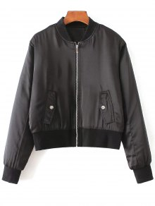 Zip-Up Satin Jacket - Black S