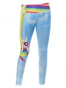 Cartoon Adventure Time Print Skinny Gym Leggings